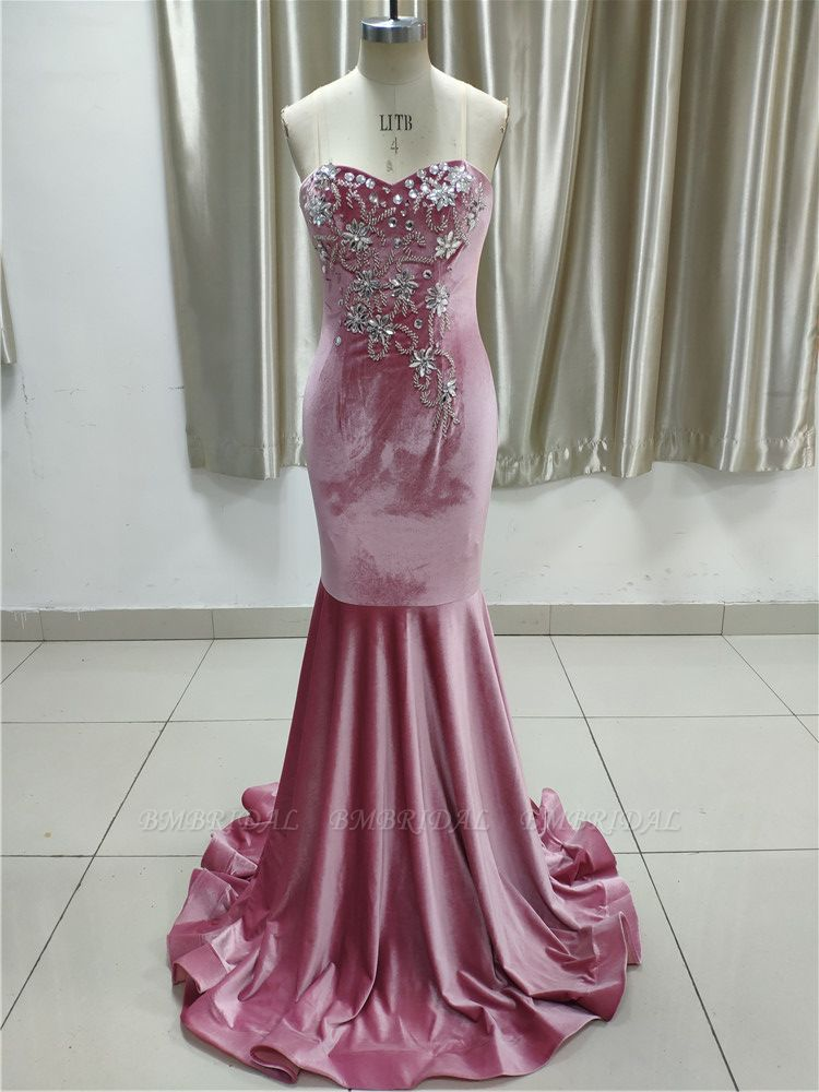 Gorgeous Strapless Sweetheart Long Prom Dress with Appliques Beadings Online