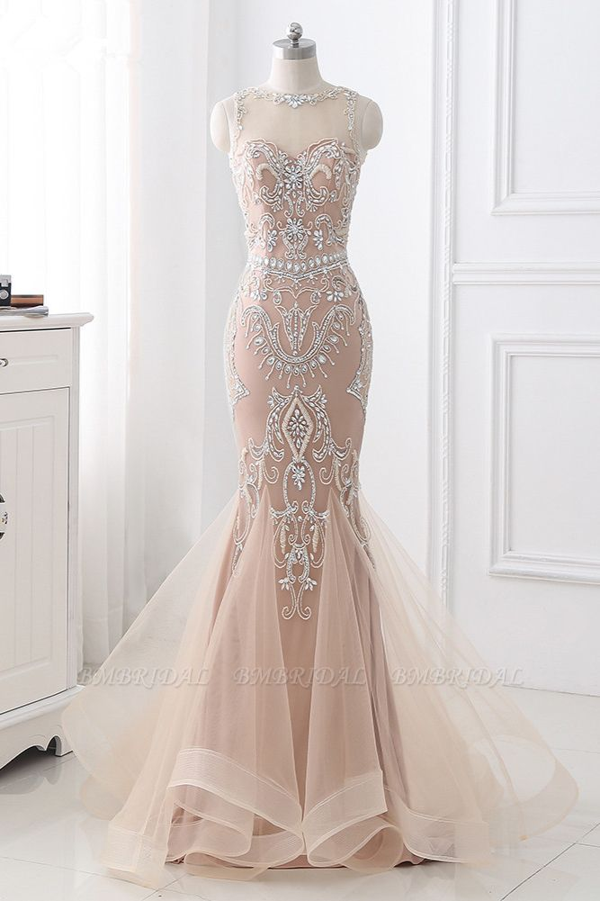 BMbridal Affordable Tulle Jewel Sleeveless Mermaid Prom Dress with Appliques