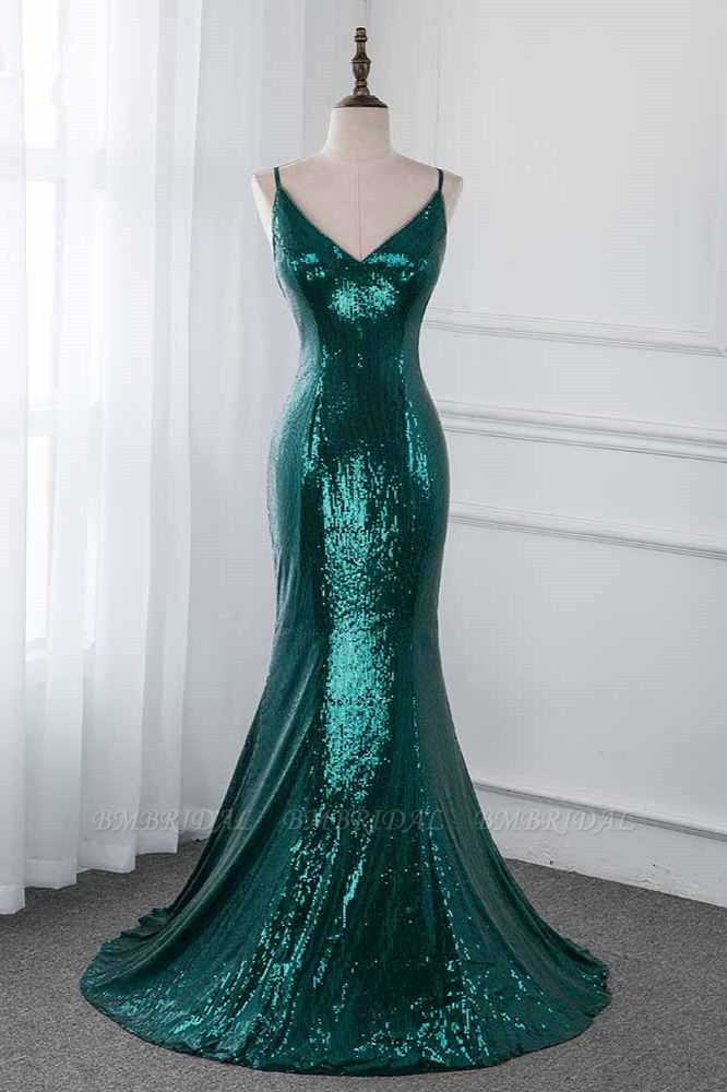 BMbridal Sparkly Sequined Spaghetti Straps V-Neck Prom Dresses with Backless Online