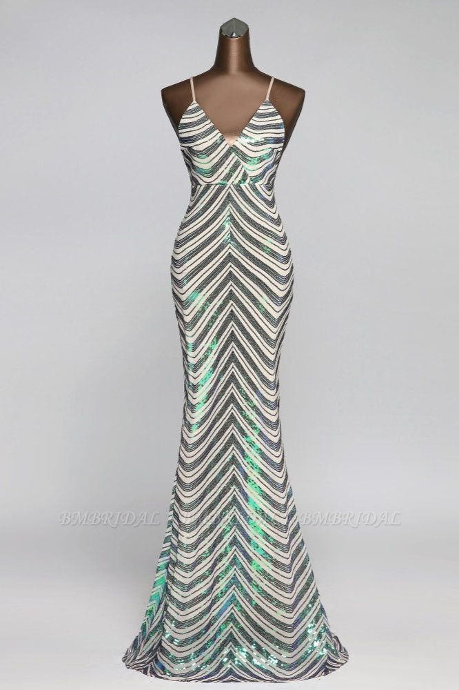 Sparkly Stripe Sequins Mermaid Long Prom Dresses with Spaghetti Straps