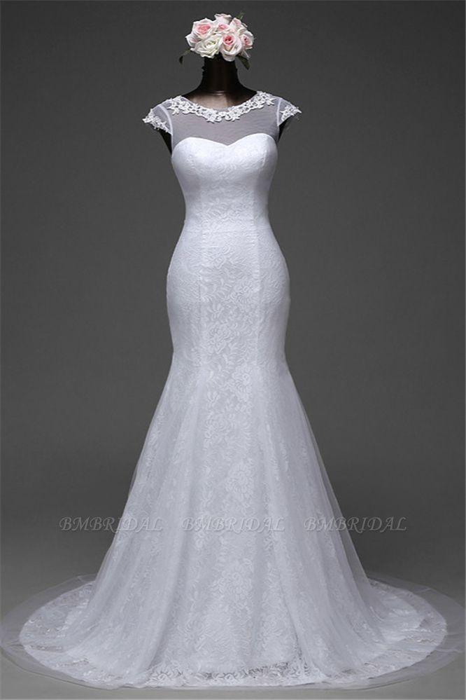Glamorous Lace Jewel White Mermaid Wedding Dresses with Beadings Online