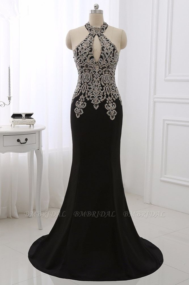 Chic High-Neck Sleeveless Black Mermaid Prom Dresses with Appliques Beadings