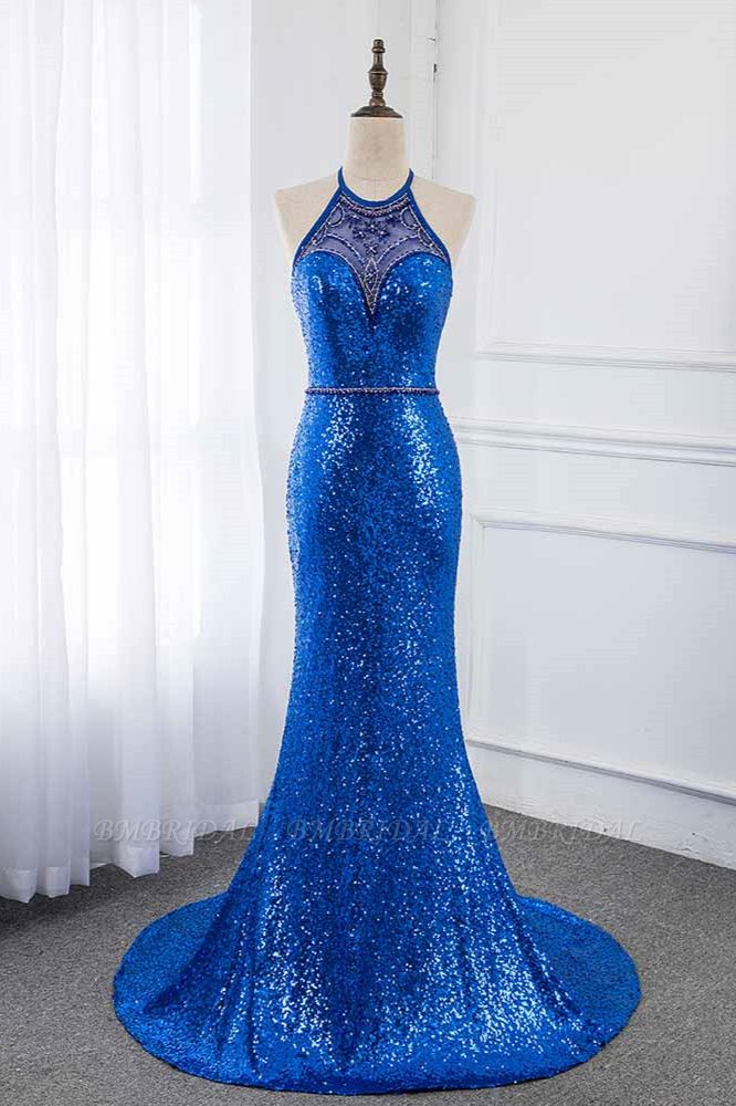 Sparkly Sequined Halter Sleeveless Royal Blue Prom Dresses with Beadings