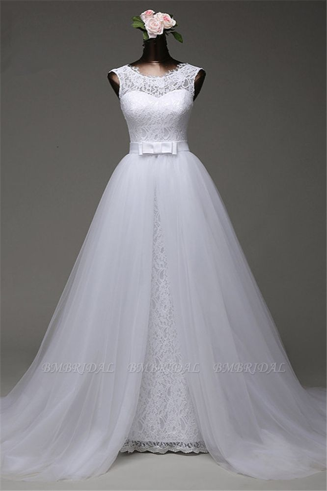 BMbridal Chic Tulle Lace Jewel Mermaid Wedding Dresses with Overskirt Online