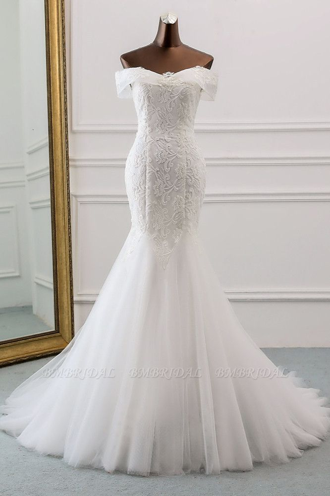 Glamorous Tulle Lace Off-the-Shoulder White Mermaid Wedding Dresses Online
