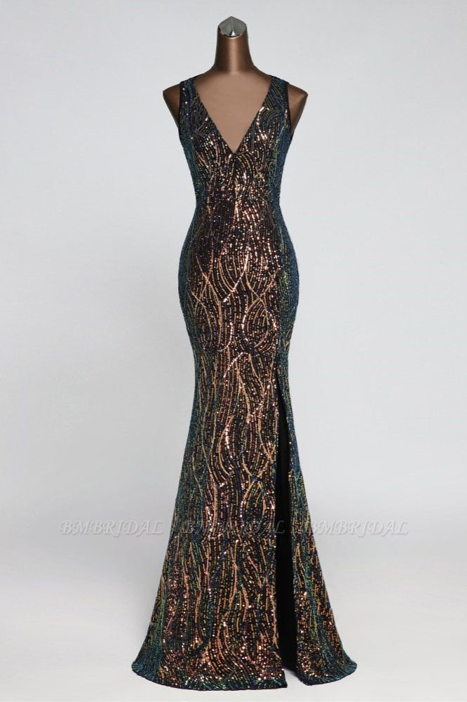 Luxury V-Neck Backless Sequins Mermaid Prom Dresses with Front Slit