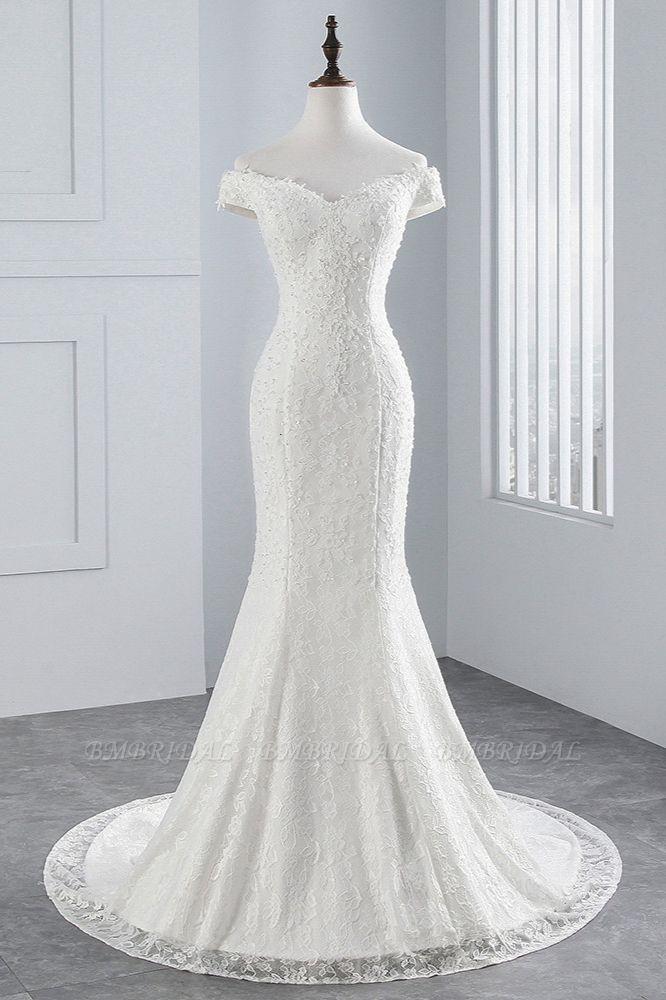 Elegant Lace Off-the-Shoulder White Mermaid Wedding Dresses Affordable Online