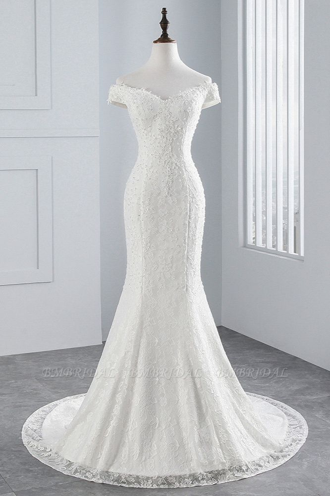 Elegant Lace Off-the-Shoulder White Mermaid Wedding Dresses Cheap Online