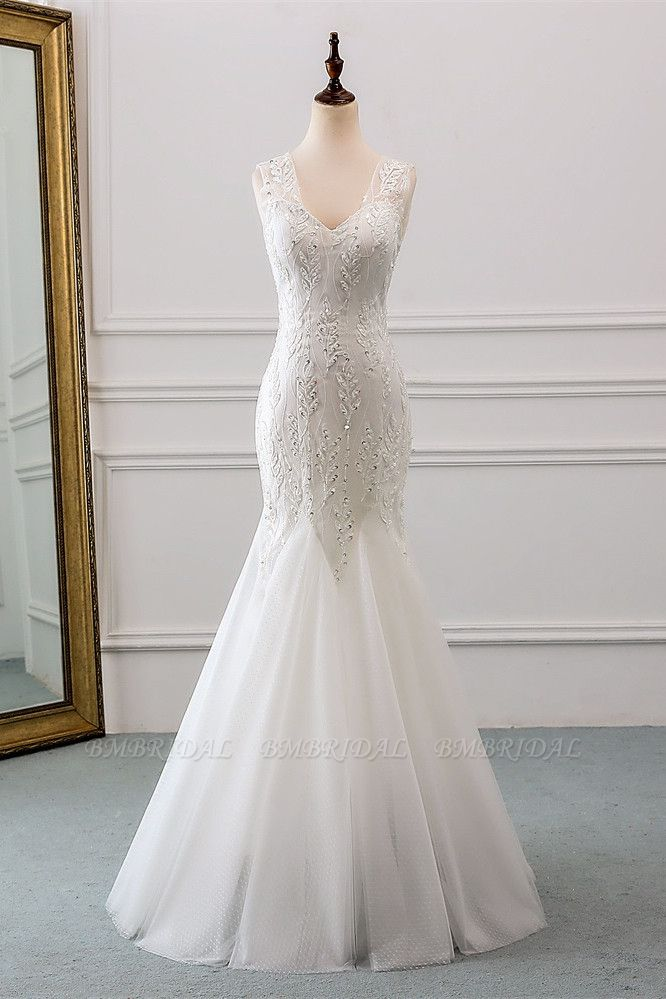 Affordable V-Neck Appliques Mermaid Wedding Dresses with Beadings Online
