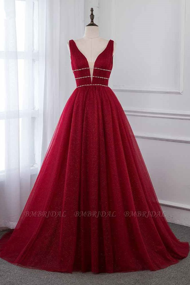 BMbridal Sexy Deep-V-Neck Sleeveless Burgundy Prom Dresses with Beadings