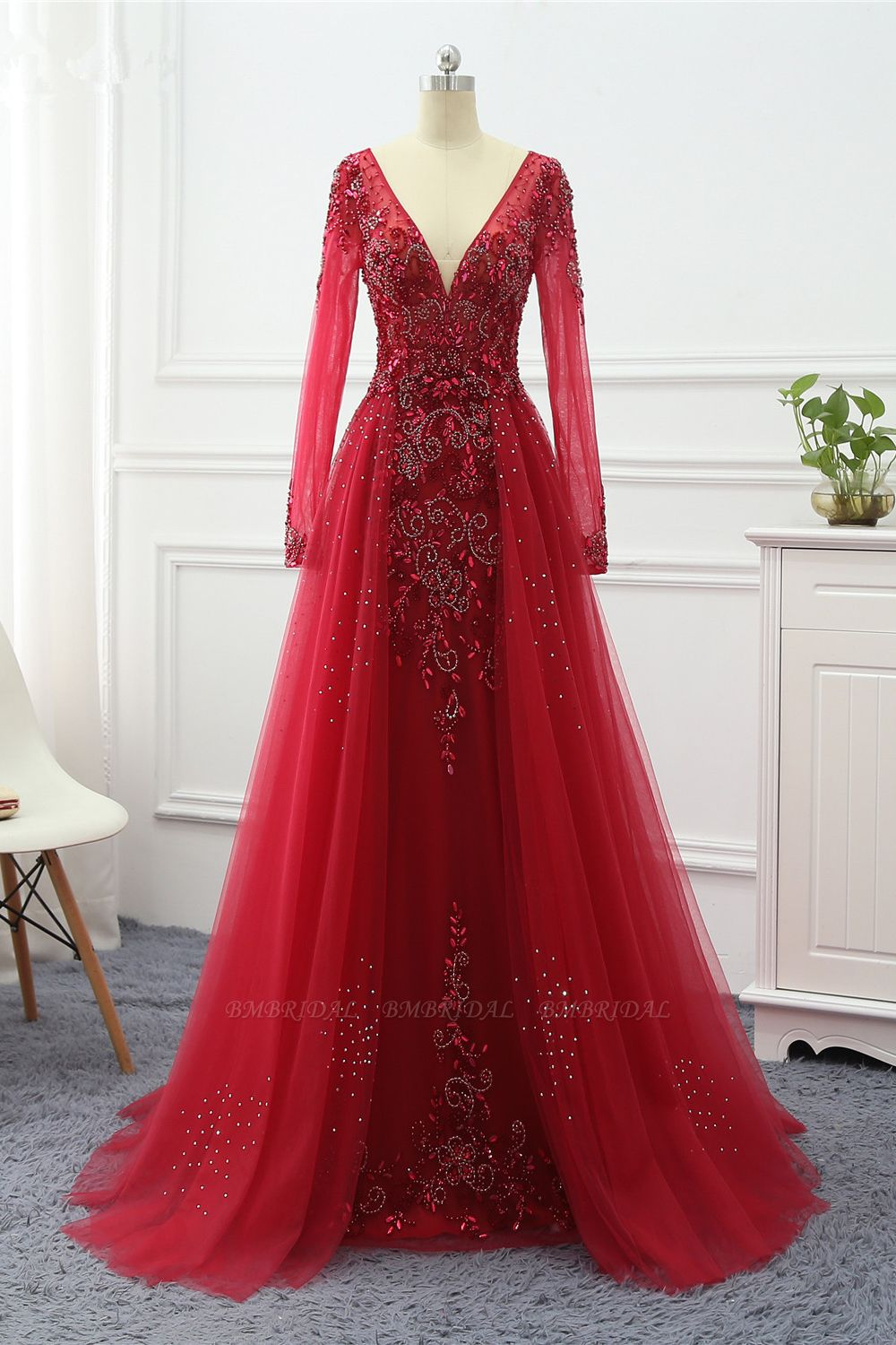 Elegant V-Neck Long Sleeves Appliques Beadings Prom Dresses with Overskirt