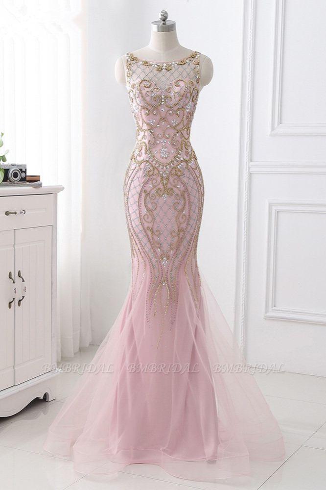 Gorgeous Jewel Pink Tulle Prom Dresses Mermaid Rhinestones Appliques Formal Dresses On Sale