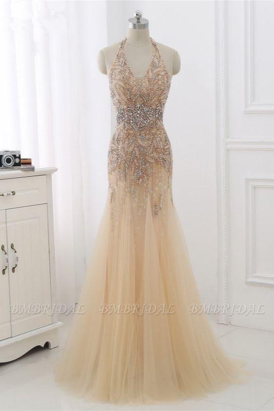 BMbridal Elegant Tulle Halter Rhinestones Mermaid Prom Dresses Sleeveless Appliques Online