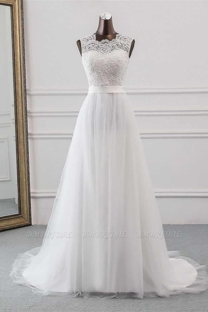 Elegant Tullace Jewel Sleeveless White Wedding Dresses with Appliques Online