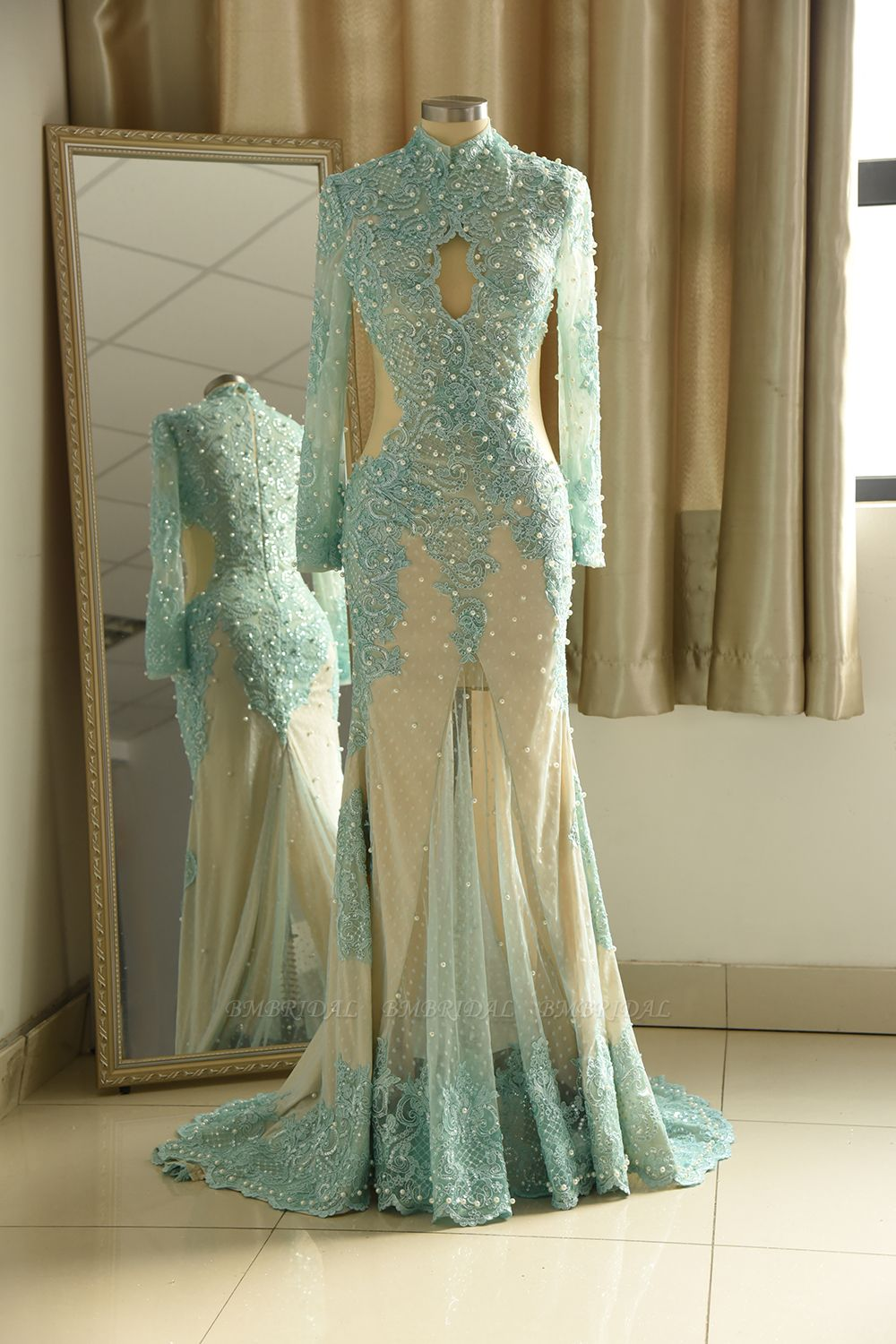 BMbridal Gorgeou High-Neck Lace Appliques Prom Dresses Long Sleeves Front Slit Evening Gowns with Pearls