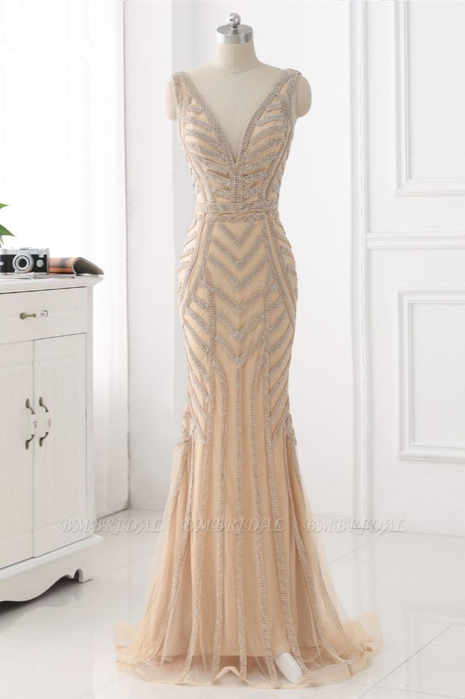 Elegant Gold Tulle V-Neck Sleeveless Prom Dresses with Beadings On Sale