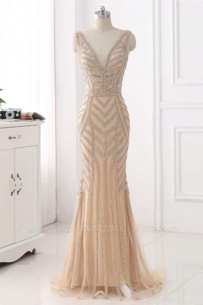 BMbridal Elegant Gold Tulle V-Neck Sleeveless Prom Dresses with Beadings On Sale