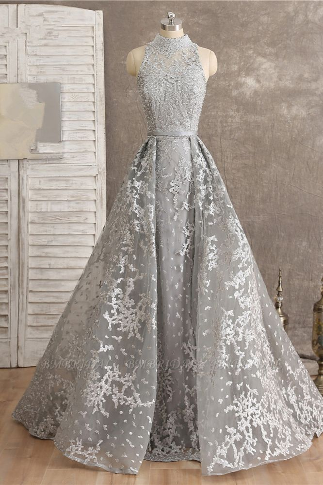 Gorgeous High-Neck Tulle Lace Prom Dresses Sleeveless Appliques Rhinestones Formal Party Dresses On Sale