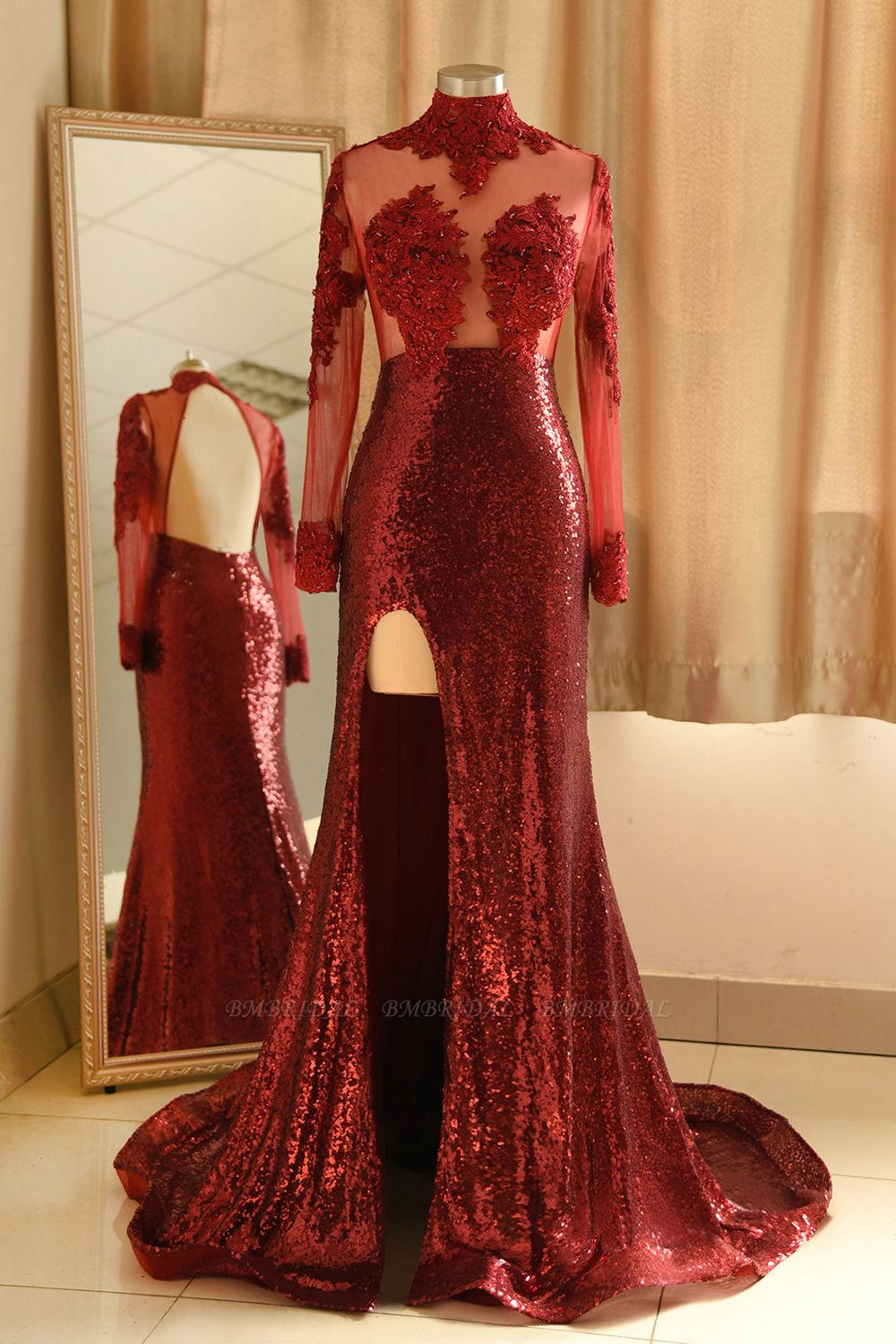 Sexy High-Neck Burgundy Sequined Slit Prom Dresses Long Sleeves Appliques Backless Formal Dress with Sheer Top