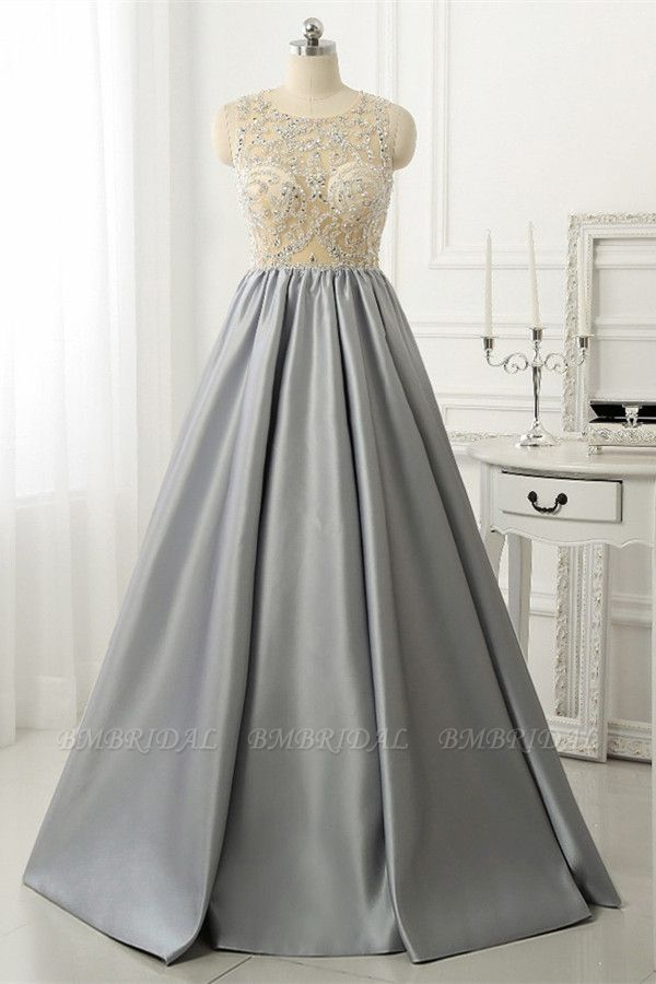 BMbridal Gorgeous Silver Beads Long Prom Dress A-Line Evening Party Gowns