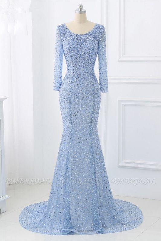 BMbridal Sparkly Sequined Jewel Mermaid Prom Dresses with Long Sleeves Online