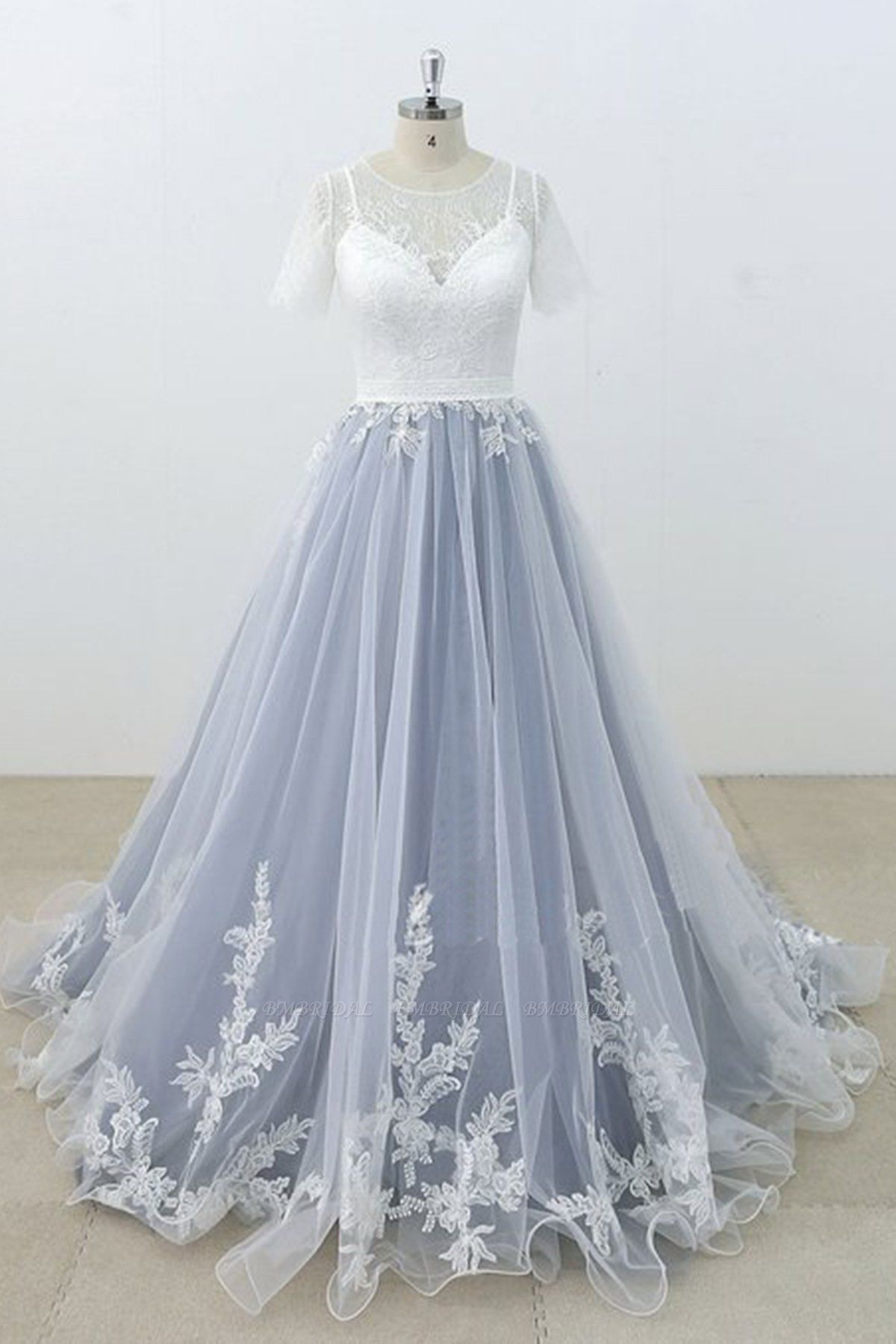 BMbridal AffordableBlue Gray Tulle Ivory Lace Wedding Dress Short Sleeve Beach Bridal Gowns On Sale