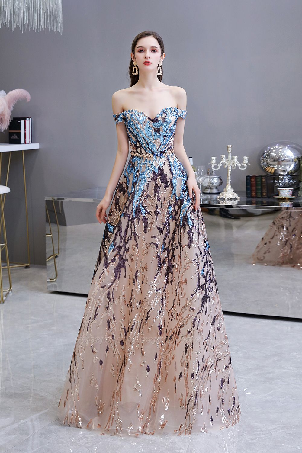 Glamorous Off-the-Shoulder Sequins Evening Gowns Long Multi-Color Prom Dress