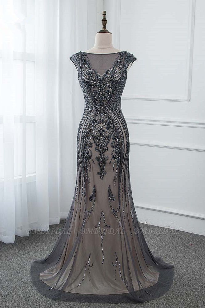 Glamorous Jewel Black Mermaid Prom Dresses with Appliques Rhinestones