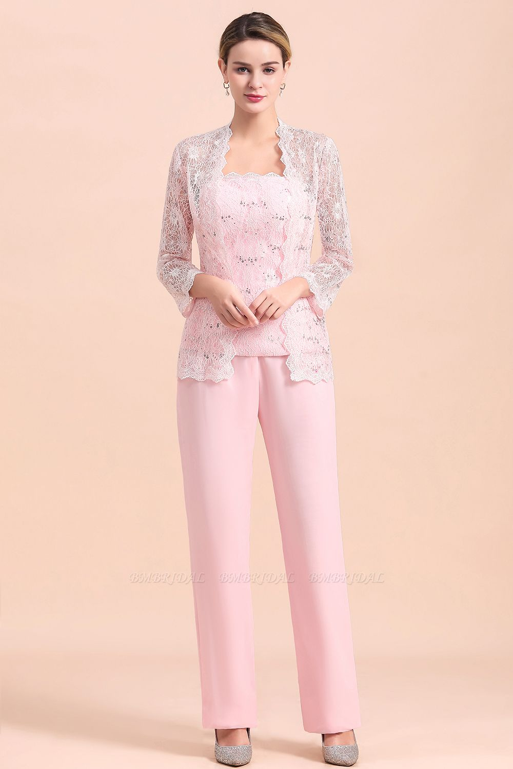 Elegant Strapless Appliques Mother of Bride Jumpsuit with Long Sleeves Wraps