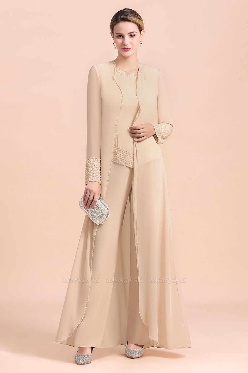 Champagne Long Chiffon Mother of the Bride Dress Two Pieces With Jacket
