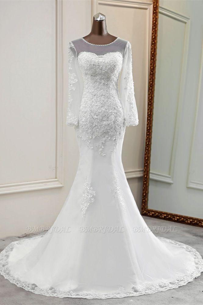 Elegant Jewel Long Sleeves White Mermaid Wedding Dresses with Rhinestone Applqiues