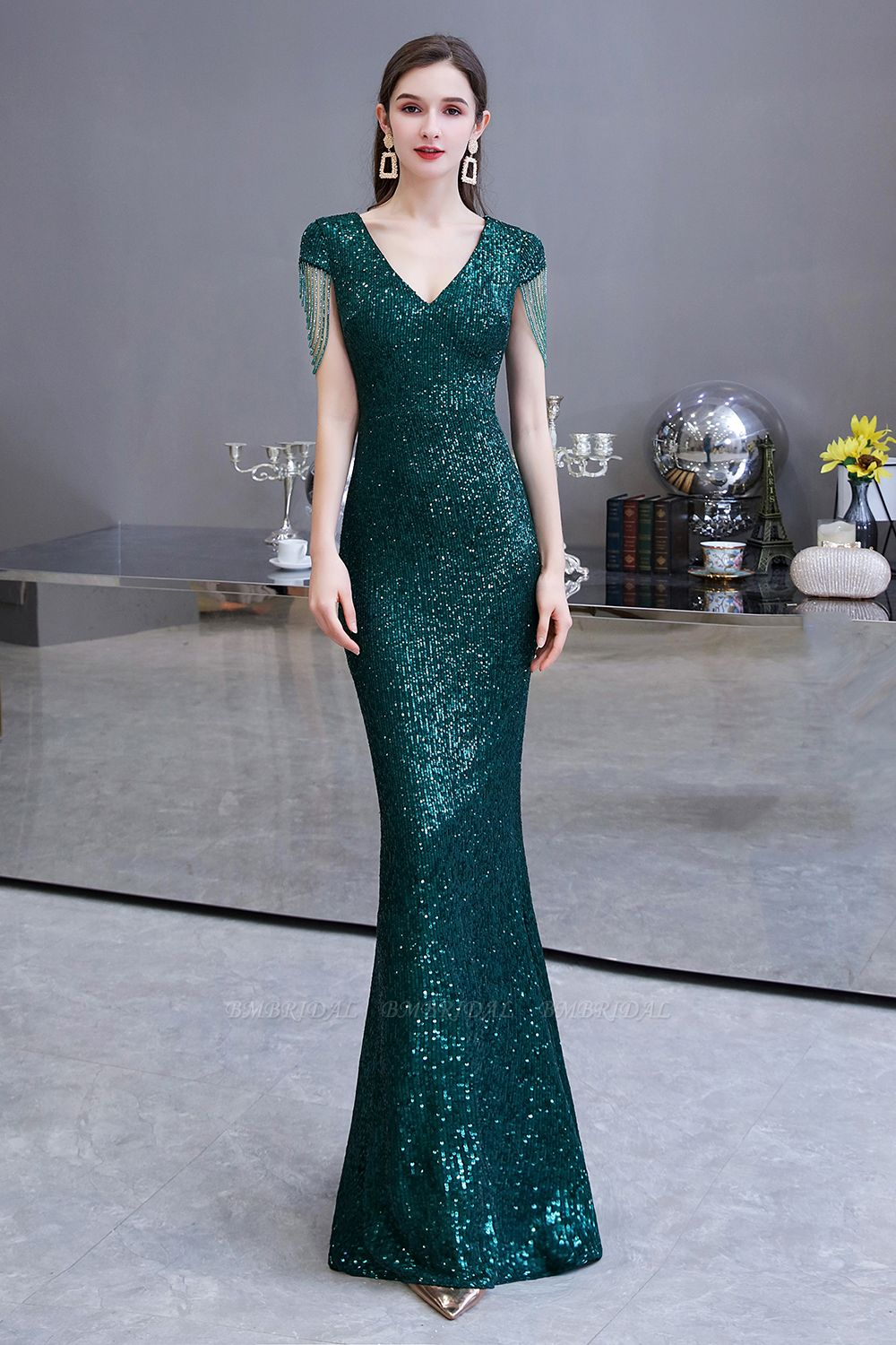 BMbridal Elegant Cap Sleeve Green Prom Dress Sequins Long Evening Gowns Online