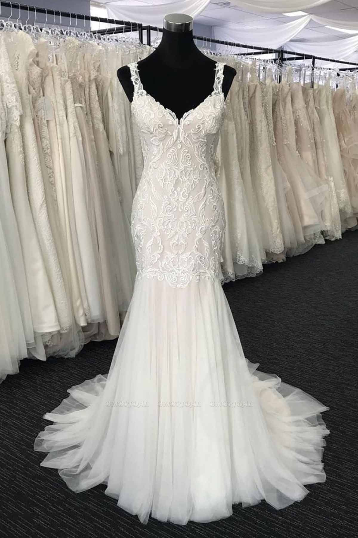 Glamorous White Tulle V-Neck Long Appliques Wedding Dress Mermaid Lace Bridal Gowns On Sale