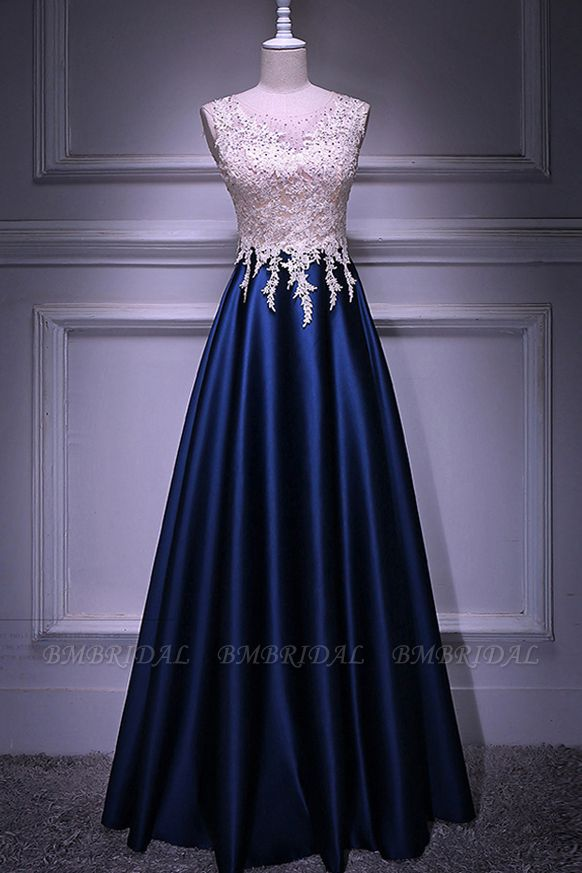 Elegant Jewel Dark Navy Beadings A-Line Prom Dresses Sleeveless Appliques Ruffle Party Dresses On Sale