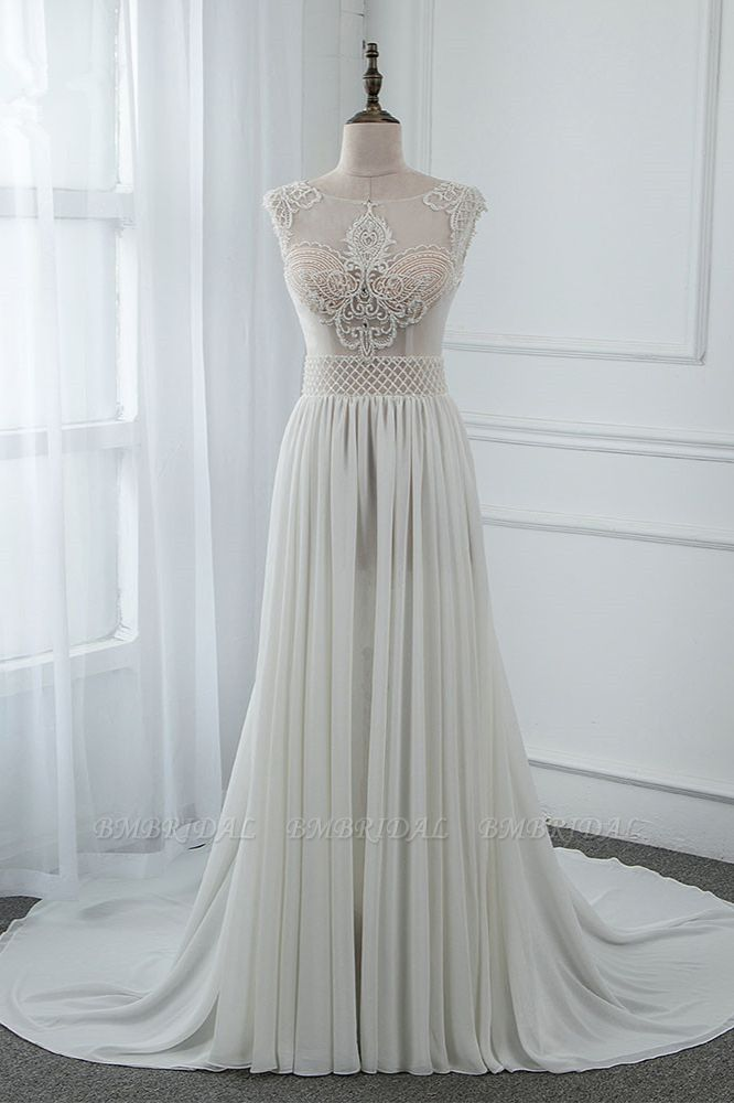 Sexy Jewel Sleeveless Chiffon Wedding Dresses See Through Top Bridal Gowns On Sale