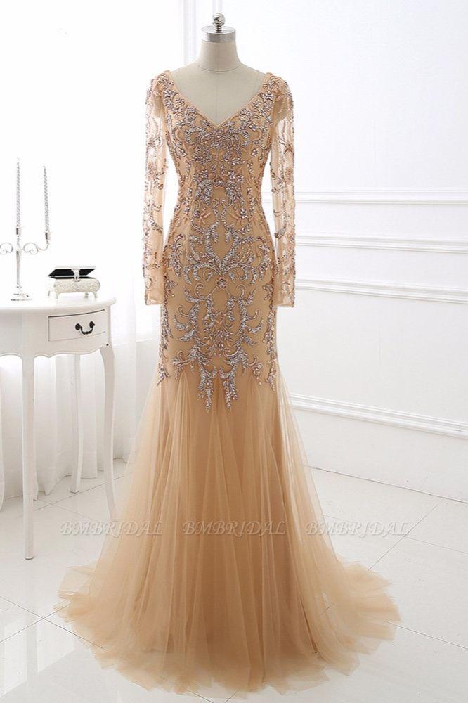 Elegant Tulle Appliques Mermaid Prom Dresses V-Neck Sleeveless Rhinestones Party Dresses On Sale
