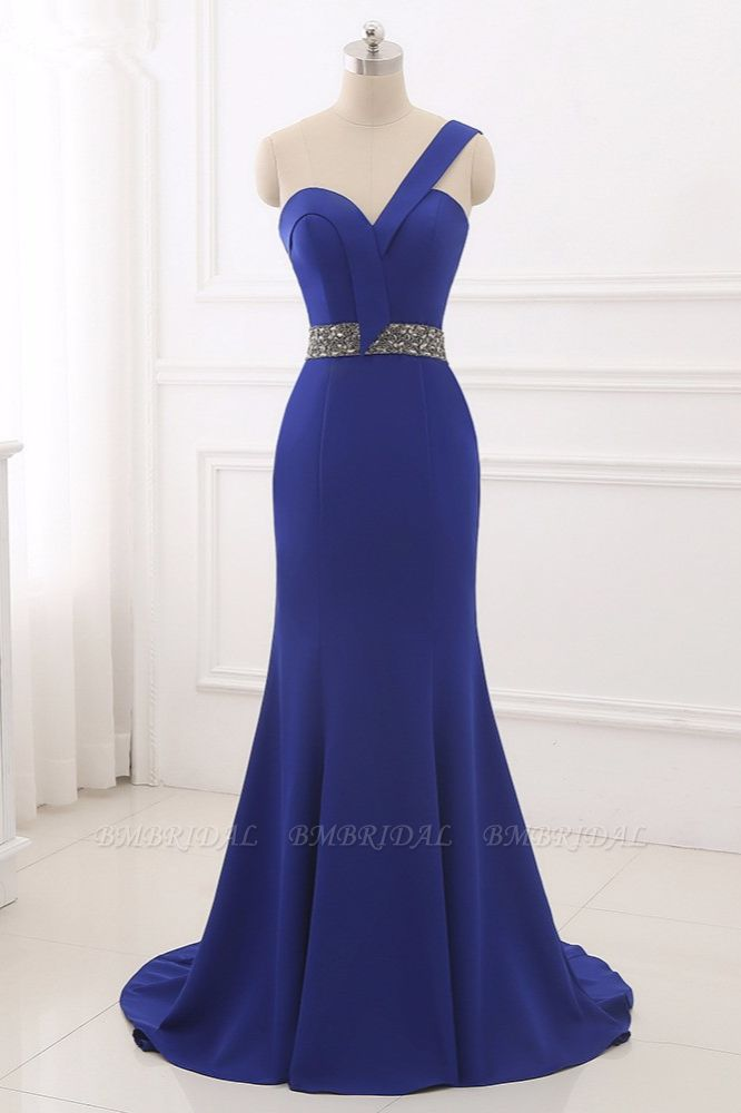 Chic One-Shoulder Sleeveless Mermaid Prom Dresses with Beadings Sash On Sale