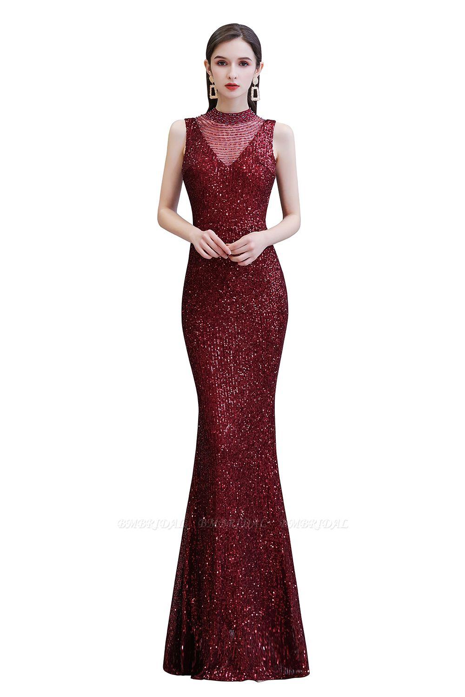 BMbridal Gorgeous Burgundy Sequins Long Mermaid Prom Dress On Sale