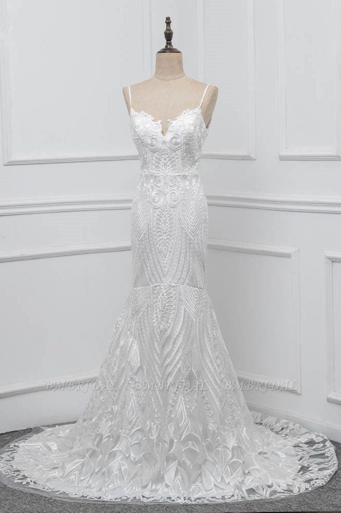 Chic Spaghetti Straps V-Neck White Wedding Dresses Appliques Sleeveless Bridal Gowns On Sale