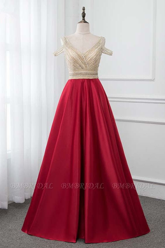 BMbridal Glamorous V-Neck Rhinestone Burgundy Mermaid Prom Dresses with Cold Sleeves Online