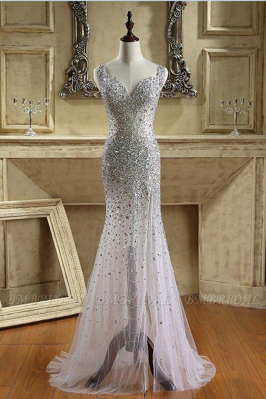 BMbridal Glamorous Straps V-Neck Tulle Beadings Prom Dresses Sleeveless Mermaid Crystals Formal Dresses Online