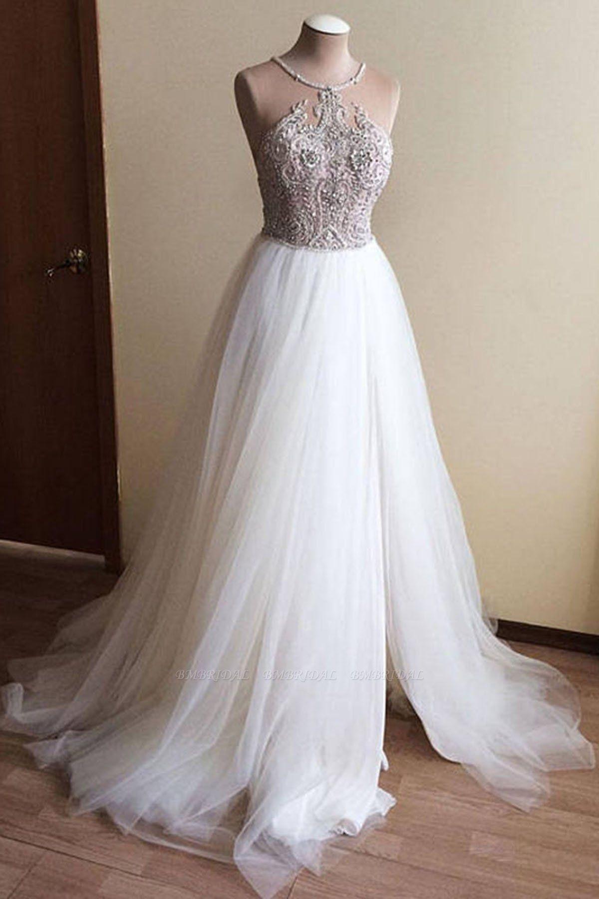 BMbridal Glamorous White Tulle Crystal Beaded Wedding Dress Halter Seeveless Bridal Gowns On Sale