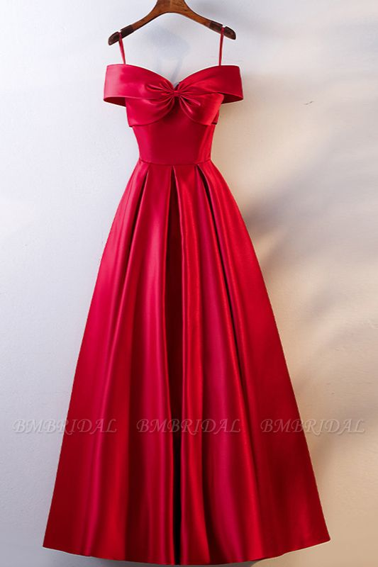 BMbridal Simple Off-the-Shoulder Satin Red A-Line Prom Dresses Sleeveless Ruffles Evening Dresses Online
