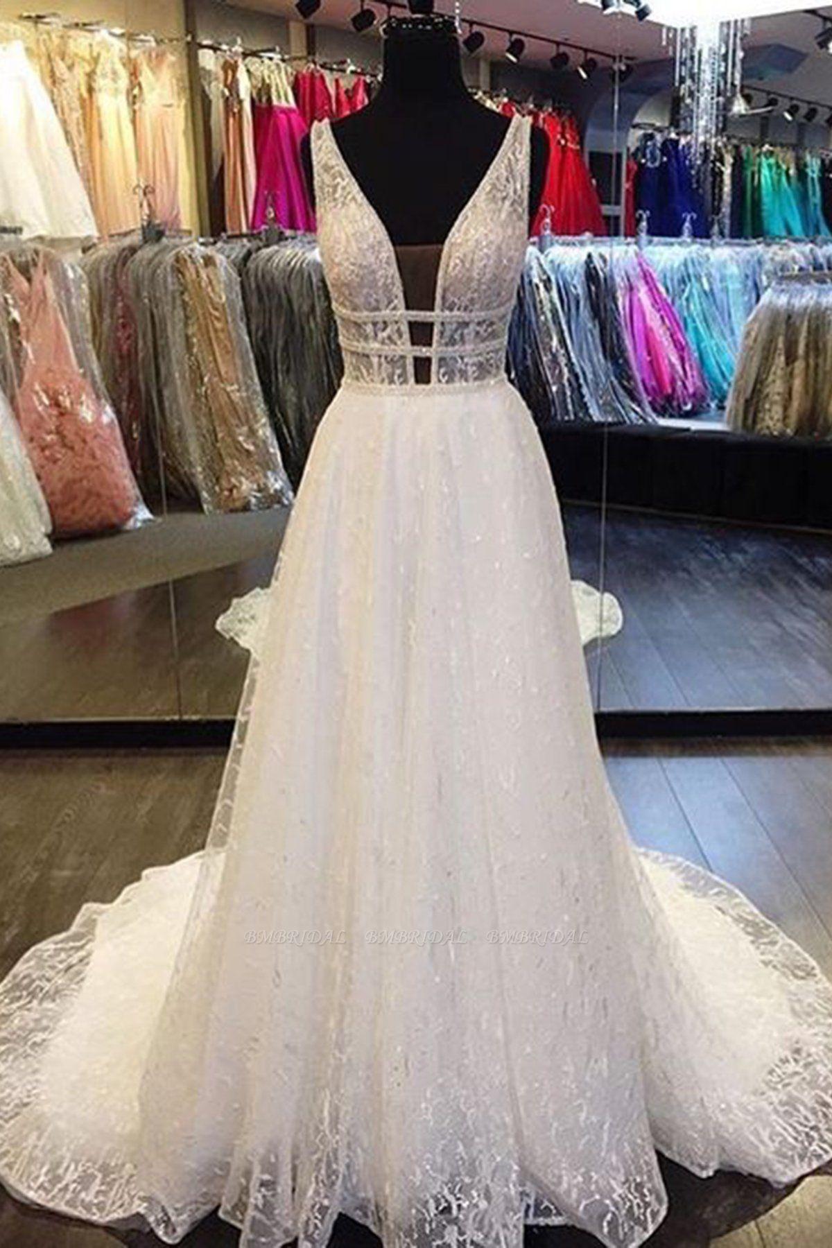 BMbridal Designer V-Neck Sleeveless Lace Wedding Dress Long Bridal Gowns