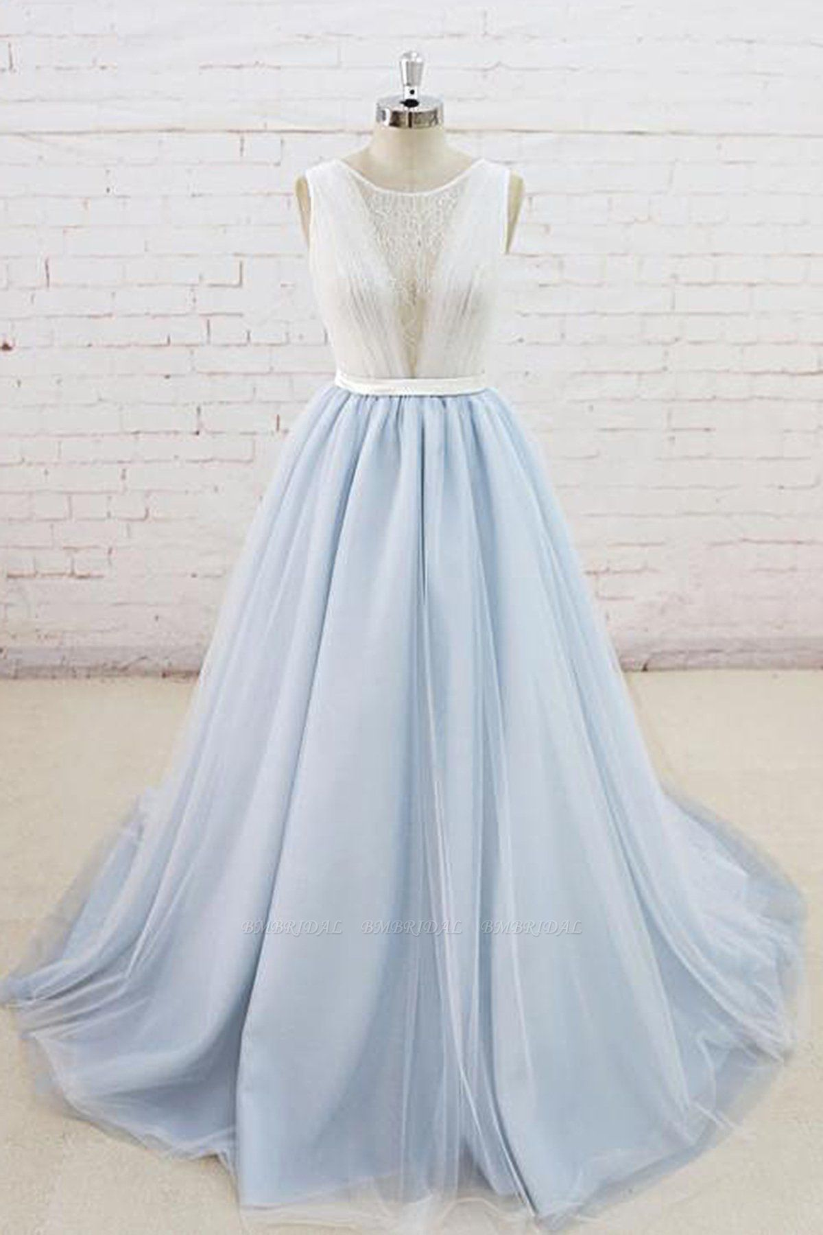 BMbridal Gorgeous Light Blue Tulle Lace Wedding Dress Sheer Back Summer Bridal Gowns On Sale