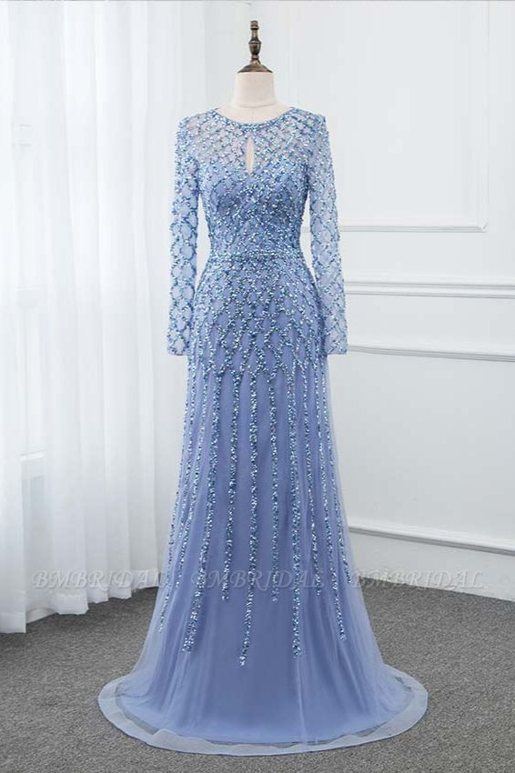 BMbridal Elegant Tulle Jewel Rhinestones Prom Dresses with Long Sleeves