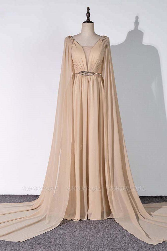 Chic Chiffon V-Neck Ruffle Prom Dresses with Beadings Sash On Sale