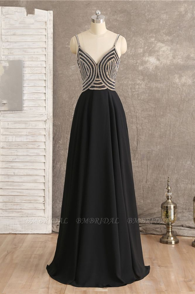 BMbridal Sexy Spaghetti Straps V-Neck Black Prom Dresses Sleeveless with Ruffles Beadings On Sale