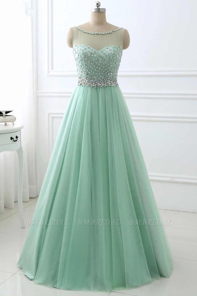 BMbridal Chic Tulle Jewel Sleeveles A-Line Prom Dresses with Rhinestones On Sale