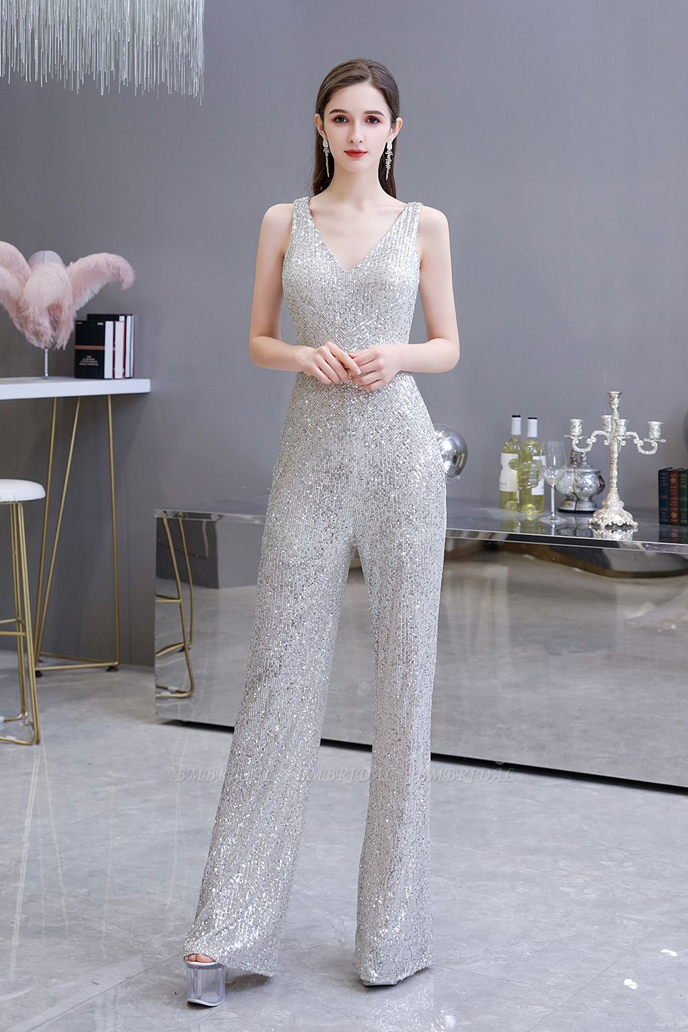 Stunning Sequins V-Neck Sleeveless Jumpsuit Event Party Gowns On Sale